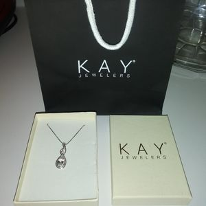 KAY JEWELERS NECKLACE SS WHITE SAPPHIRE